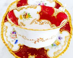 Reserved for S-Coalport Red and Gold Early 20th Century Tea Cup and Saucer - Edit Listing - Etsy