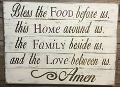 Bless The Food Before Us Wood Kitchen Sign by SouthernChicMania