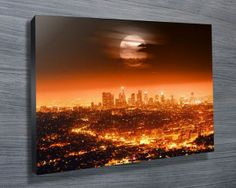 LOS ANGELES AT NIGHT $26.00–$741.00 This is a beautiful print of the Los Angeles city skyline at night, as with all of our artworks, its avaiable as standard as a stretched canvas print, archival paper print or rolled canvas.#CanvasprintsMelbourne  #giftsfordad
