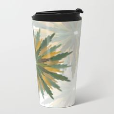 Leafy Wreaths Travel Mug by weivy Drink Containers, Pattern Flower, Face Towel, Presents For Friends, Travel Mug, Original Art, Tapestry, Wreaths, Throw Pillows