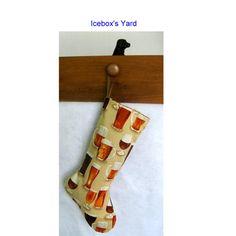 Beer glass Christmas Stockings  Handmade Lined Xmas by IceboxsYard