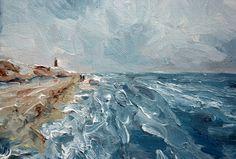 Choppy waters oil painting Sea and Sky 30 x 40 cm by NancyvdBoom, €180.00