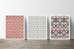 Modern Tribal Geometric Wall Art Set of 3 by PomGraphicDesign