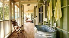 has always been my plan for our tub at the lake, and possibly at home.  still figuring out how to build something to recline on.  Any ideas?