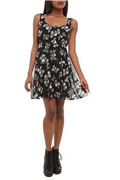 Flying Skull Chiffon Dress    $32.50 This light and flowy chiffon dress features an allover flying skull print.