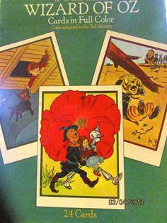 Wizard of Oz book of postcards graphics 1986   cardboard vintage.
