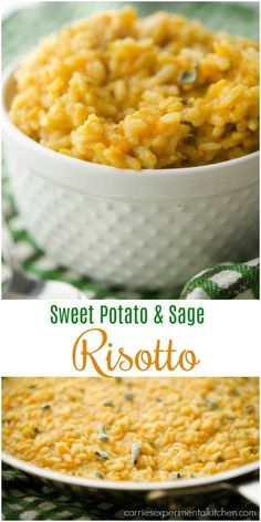 Sweet Potato and Sage Risotto made with Italian Arborio rice, grated sweet potatoes, fresh sage & apple cider makes this the quintessential Fall side dish. Sage Recipes, Sweet Potato Recipes, Pasta Recipes, Cooking Recipes, Sweet Potato Risotto, Risotto Rice, Sweet Potato Rice, Rice Recipes For Dinner, Vegetarian Recipes