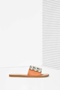 Love these jeweled sandals on sale for $40! Jeffrey Campbell Darjana Jeweled Suede Slide