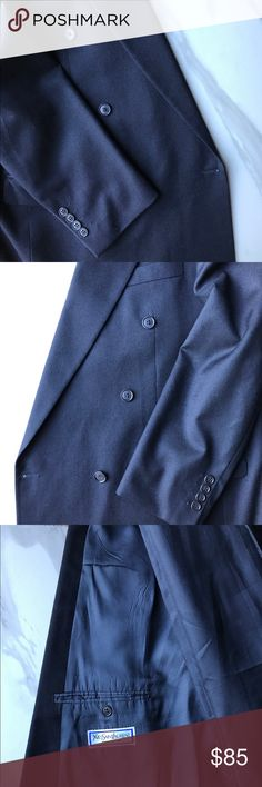 44R Yves St Laurent Navy Double Breasted Jacket Excellent condition - one of the buttons could use a couple of extra stitches (see photo) as it's a bit loose. Size 54R / 44R US size Yves Saint Laurent Suits & Blazers Sport Coats & Blazers