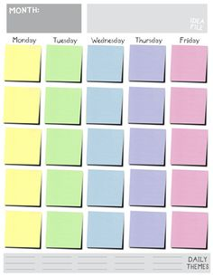 Printable Weekly Planner Calendars | Creating and Sticking to a Blog ...