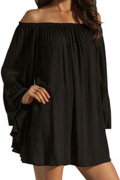 Solid Color Chiffon Slash Neck Dress BLACK: Chiffon Dresses | ZAFUL