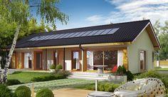 Projekt domu parterowego Eryk G1 (30 stopni) o pow. 95,13 m2 z garażem 1-st., z dachem dwuspadowym, z tarasem, sprawdź! Lampang, Dream House Exterior, Design Case, My House, House Plans, Home And Garden, Farmhouse, Cottage, House Design