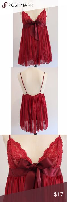 """Victoria's Secret Night Gown Burgundy Lace Sheer Measurements taken with garment laid flat: Length: 23.5"""" Not including straps since they are adjustable. Chest: 14.5"""" Stretchy  Comes from a smoke-free & pet-free home! Victoria's Secret Intimates & Sleepwear Chemises & Slips"""