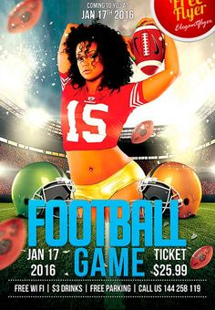 Free Football Game PSD Flyer Template - http://freepsdflyer.com/free-football-game-psd-flyer-template/ Free Football Game PSD Flyer Template - PSD is set up in 1275×1875 dimension (4″ х 6″ with 0,25″ bleed). You can easily change texts, content, images, objects and color palette. The PSD file is very well organized, with color coded groups and layers named appropriately. Remember, all stock images of models and other people used only for demonstration all charms of