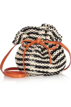 M Missoni Crochet-knit cotton and leather bucket bag The orange leather strap offsets the black and cream weave-style it with a graphic outfit to really