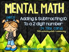 """1.NBT.5 Mentally find 10 more or 10 less than a given 2 digit number Task Cards  Common Core standard 1.NBT.5 states students """"Given a two-digit number, mentally find 10 more or 10 less than the number, without having to count; explain the reasoning used.""""  This pack includes: *24 Task cards (4 on each page) *recording sheet *answer key ++++++++++++++++++++++++++++++++++++++++++++++++ Check out these other Common Core Math Resources:  Bundle Teach Me Math 1st Grade Common Core 1.MD.4 ..."""
