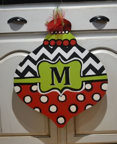 MONOGRAM chevron ornament CHRISTMAS wooden door by CnTCreations