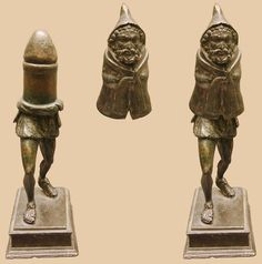 """Bronze statuette of the Roman fertility god Priapus, made in two parts (shown here in assembled and disassembled forms). This statuette has been dated to the late 1st century C.E. It was found in Rivery, in Picardy, France in 1771 and is the oldest Gallo-Roman object in the collection of the Museum of Picardy. This figurine represents the deity clothed in a """"cuculus"""", a Gallic coat with hood. This upper section is detachable and conceals a phallus."""