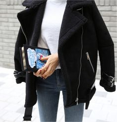 oversized moto jacket  street style fashion black coat winter simple jeans and white tee km
