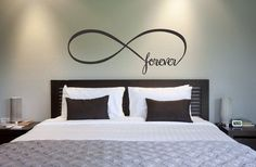 Infinity Symbol Bedroom Wall Decal Forever Bedroom Decor Home Decor Infinity Loop Wall Quote Vinyl Lettering on Etsy, interior design house design My New Room, My Room, Home Bedroom, Master Bedroom, Bedrooms, Bedroom Ideas Master For Couples, Master Suite, Bedroom Furniture, Wall Decals For Bedroom