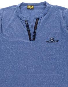 Μπλούζα κοντομάνικη στενή εφαρμοστή για αγόρια Από μαλακό βαμβακερό ύφασμα Στενή γραμμή που εφαρμόζει στο σώμα Διακοσμητικά κουμπιά , σχέδιο από