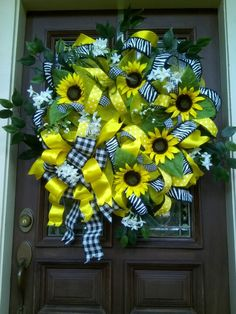 Lemon yellow deco mesh wreath for sale $119.00
