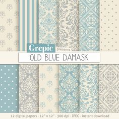 "Blue damask digital paper: ""OLD BLUE DAMASK"" digital paper pack with soft vintage blue and cream damask backgrounds and classical patterns"