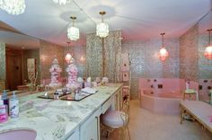 The girliest vintage home you'll ever see | Offbeat Home. Pink, fabulous, retro, vintage bathroom.