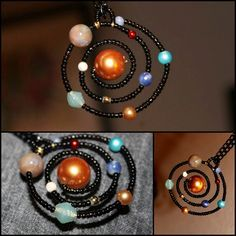 "Beaded Solar System Necklace from the Etsy Store of LeBeadeau. I've been eyeing this necklace for a long time, but her Etsy store seems to have no listings right now. Really good idea using wire, seed beads and then ""planet beads"" with a black chain."