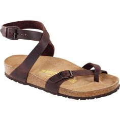 Birkenstock Women's Yara Habana Oiled Leather Sandals ($120) ❤ liked on Polyvore featuring shoes, sandals, brown, birkenstock shoes, shock absorbing shoes, breathable shoes, brown shoes and arch support shoes