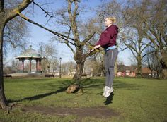 TRX in the park. Squat jumps. Great for legs and bum and core. Jump in the air and land softly in a squat position, repeat to exhaustion.