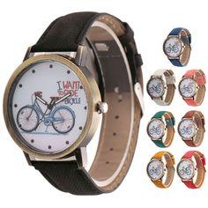 New Men Women Leather Analog Bike Cowboy Quartz Wrist Watch Gift #Unbranded #Casual