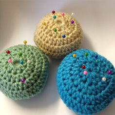 Crocheted pincushions, made by me.