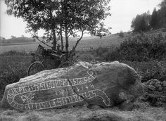 "Fallen runestone (Sö at Korpbron (the Ravens' Bridge) in Juresta, Sweden. The inscription says: ""Sandar raised the stone in memory of Joar (or Ivar), his kinsman. No-one will bear a more able son. May Tor(? Statues, Rune Alphabet, Ancient Runes, Rune Stones, Memorial Stones, Old Norse, Sun And Stars, 11th Century, Old Photographs"