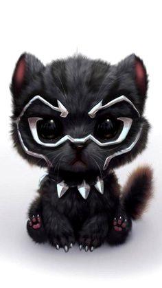 Black panther but cat - Marvel Comics Chibi Marvel, Marvel Art, Marvel Comics, Marvel Avengers, Deadpool Pikachu, Pikachu Art, Deadpool Humor, Pikachu Drawing, Deadpool Art