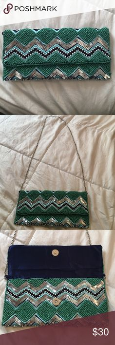 Beaded Clutch/Cross body bag Antik Kraft beaded clutch with chain to make into a crossbody bag. Green/blue with navy inside. Never used! Antik Kraft Bags Crossbody Bags