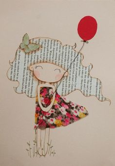 Girl with Red Balloon Original Mixed Media Illustration                                                                                                                                                                                 Plus