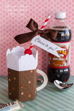 Paper Root Beer Float Treat Box - Fleurette Bloom SVG Files - cut on the Silhouette Cameo BUY 3d Paper, Paper Crafts, Root Beer Barrels, Chocolate Lab Puppies, Celebration Quotes, Thanksgiving Gifts, Keepsake Boxes, Craft Projects, Crafty