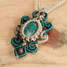 Macrame Necklace Pendant Turquoise Stone Cotton Waxed Cord Handmade #Handmade #Wrap