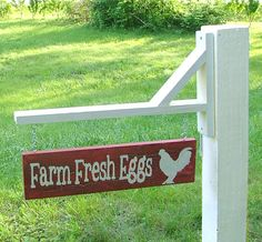 Farm Fresh Eggs Sign with Bracket for Hanging by GreenChickens, $25.95