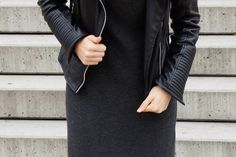 THE KNITTED DRESS | h&m knitted dress // zara leather jacket // mango bag // deichmann boots