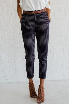 """Put the chic in """"office-chic"""" with our Pencil Me In Navy Pinstripe Pants! These fitted suit pants are so versatile with their navy and white pinstripes, not"""
