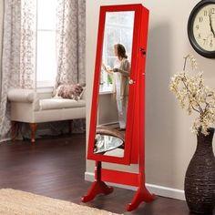 Aynalı Takı Dolabı Parlak Kırmızı