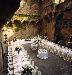The perfect setting U shape table for your Wedding event in Tuscany Florence Italy  Catering your Wedding to perfection !!!!