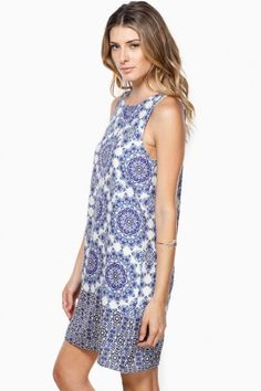 Blue and white.  Fun summer dress.