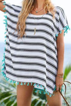 Siyah Beyaz Şeritli Şifon Plaj Elbisesi - Plaj Moda