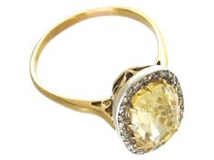 Edwardian Yellow Sapphire & Diamond Ring - The Antique Jewellery Company