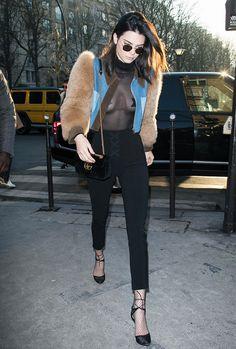 On Kendall Jenner: Krewe Ward 24k Titanium + Zulu ($275);Sonia Rykiel Short Denim Jacket with Fur Sleeves($1380);Gucci GG Marmont 2.0 Small Quilted Leather Shoulder Bag ($1890);Soebedar...