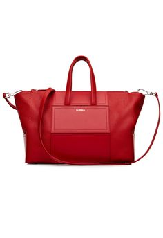 12b219b928b Elegant red bag made from fine tumbled calfskin accented with angular  leather elements that emphasise the geometric design.
