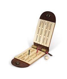 Wood & leather cribbage board. Goregous!